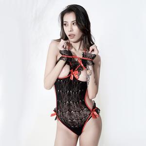 性感诱惑蕾丝网纱拼接透视露乳黑塑身连体上衣欧美11202 史黛丝