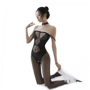 【情趣内衣】开裆透视花纹吊带连体网衣  ZOCOLA/佐卡莲