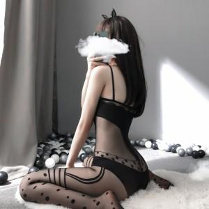 【情趣内衣】性感透视网衣花纹吊带连体衣11331 史黛丝